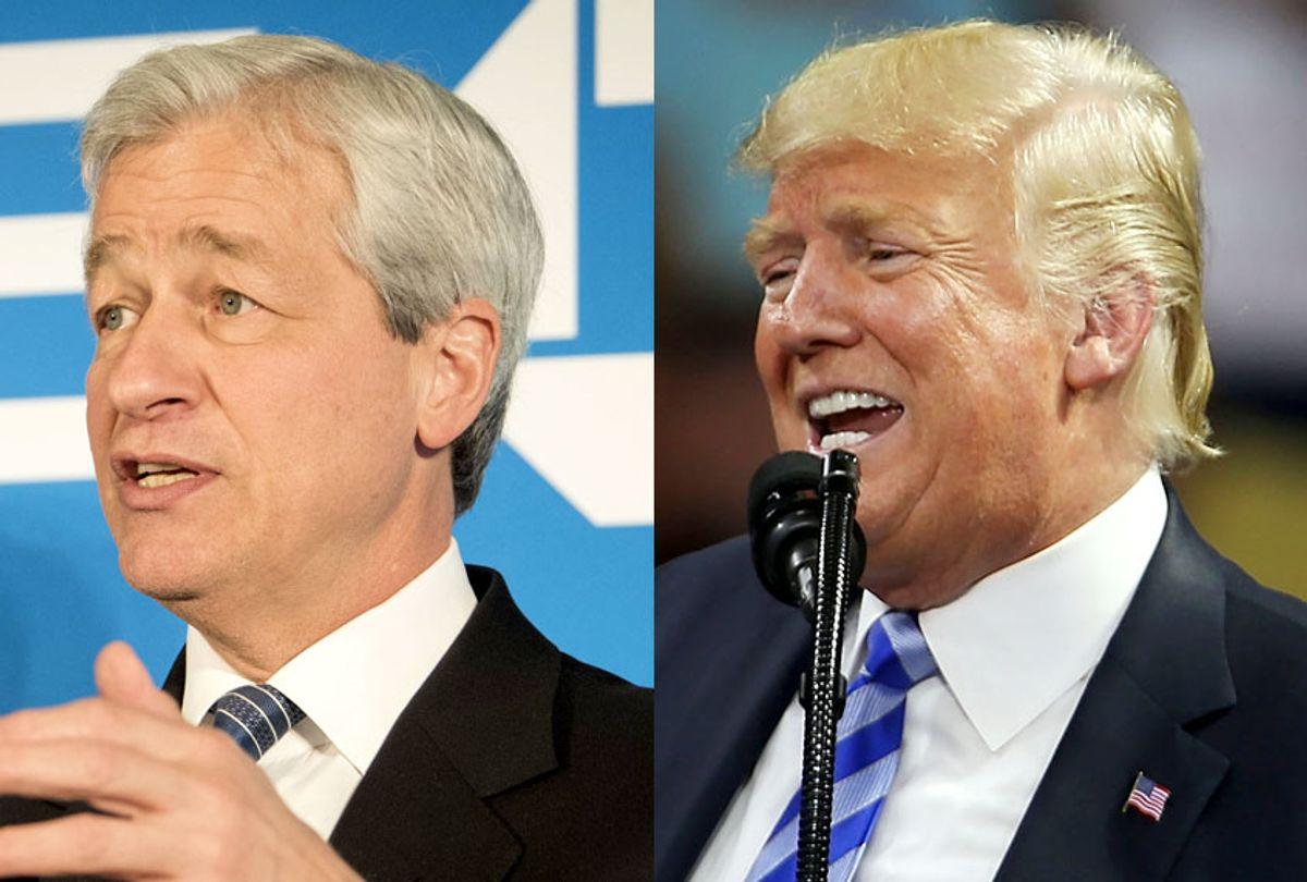 Jamie Dimon; Donald Trump (AP/Kevin Wolf/Getty/Spencer Platt)