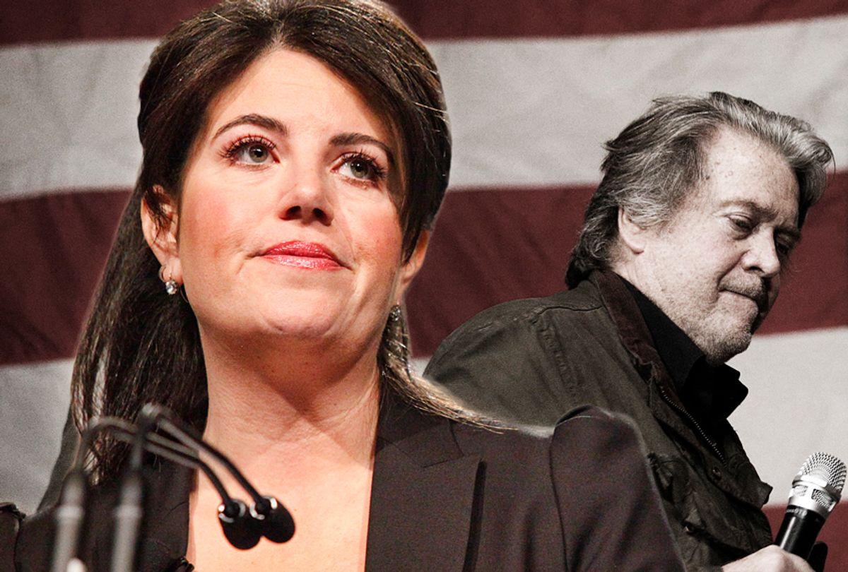 Monica Lewinsky; Steve Bannon (AP/Photo montage by Salon)