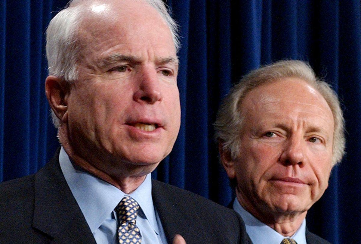 John McCain and Joseph Lieberman during a news conference in Washington, Jan. 8, 2002. (AP/Dennis Cook)