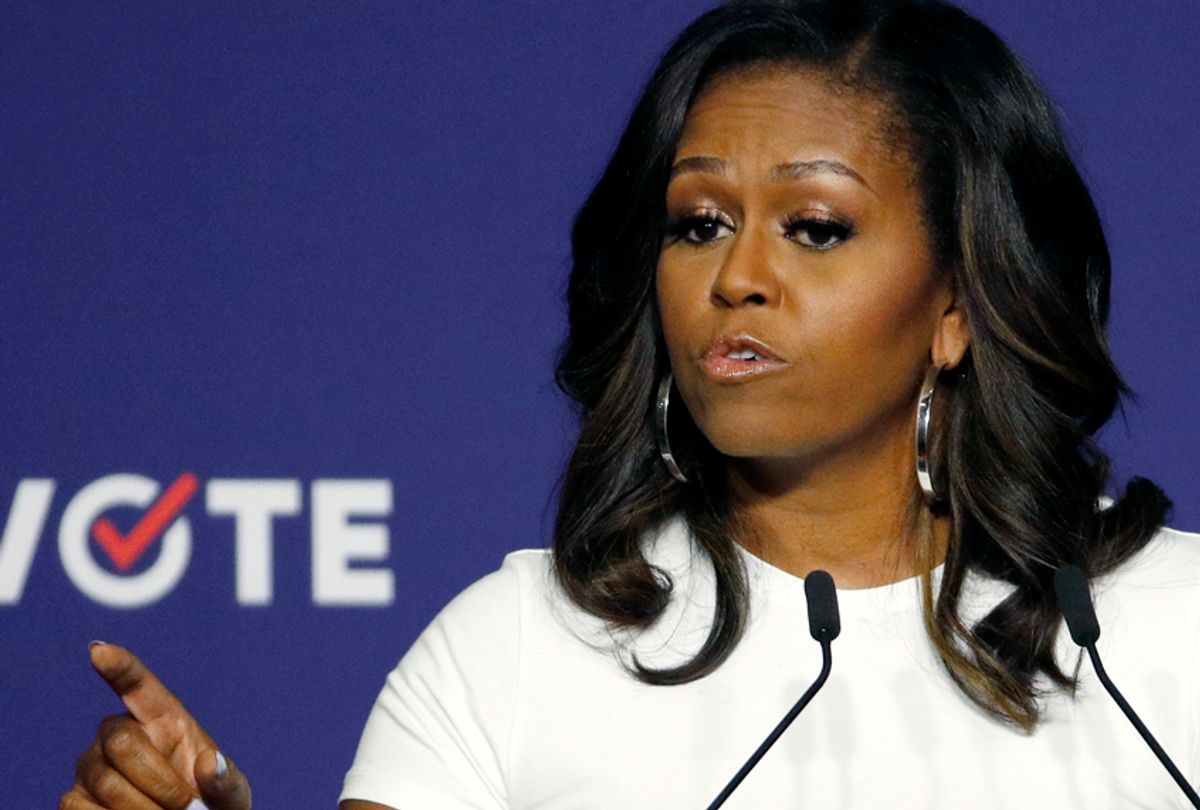 Former first lady Michelle Obama speaks at a rally to encourage voter registration Sept. 23, 2018, in Las Vegas. (AP/John Locher)