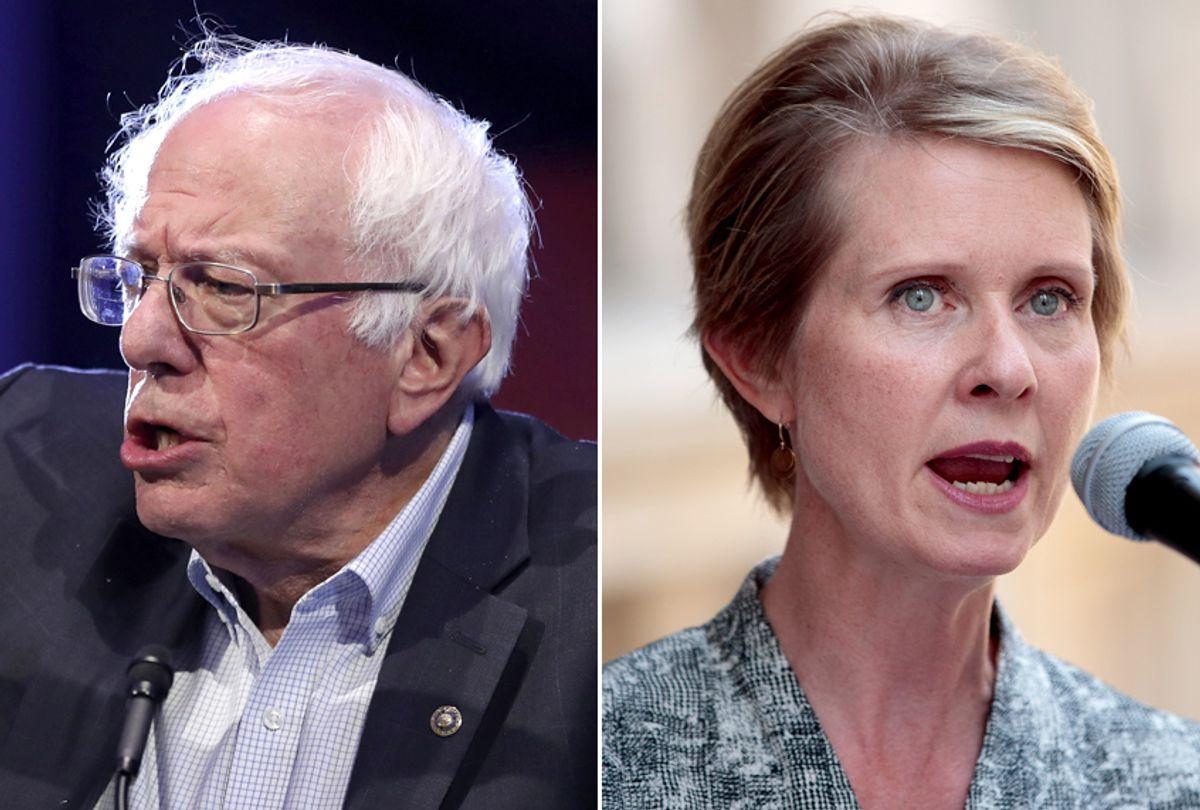 Bernie Sanders; Cynthia Nixon (AP/Carlos Osorio/Getty/Drew Angerer)