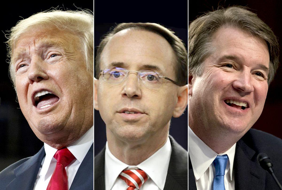 Donald Trump; Rod Rosenstein; Brett Kavanaugh (AP/Evan Vucci/Patrick Semansky/Andrew Harnik)