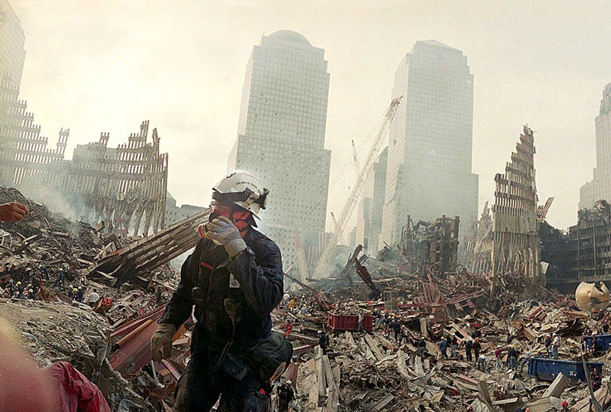 The tangle of debris in the pit that once was home to the World Trade Center on September 24, 2001. (AP/Ted S. Warren)