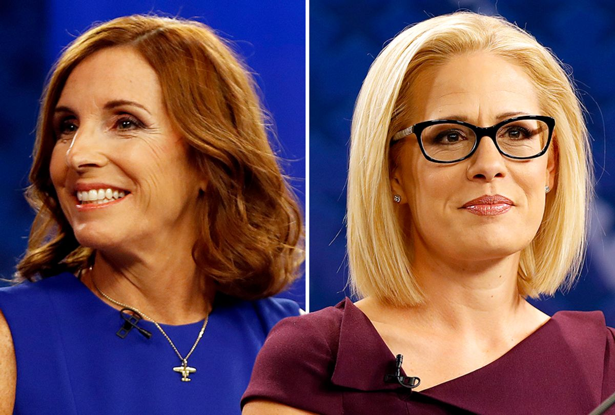 Martha McSally and Kyrsten Sinema during their televised debate Monday, Oct. 15, 2018, in Phoenix. (AP/Matt York)