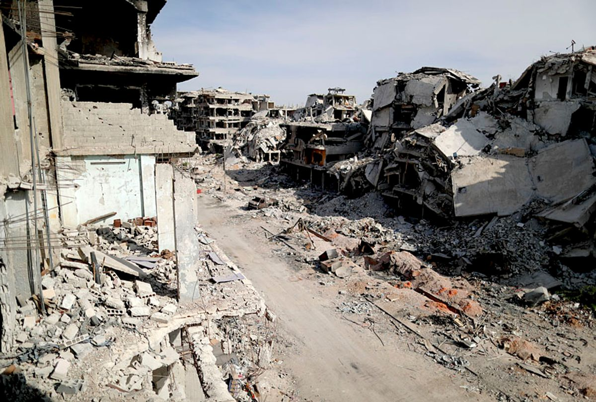 Buildings lie in ruins in the Palestinian refugee camp of Yarmouk in the Syrian capital Damascus, Syria, Oct. 6, 2018.  The camp has been gutted by years of war.  (AP/Hassan Ammar)