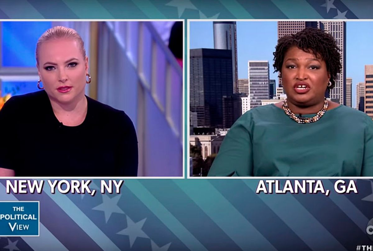 """Meghan McCain and Stacey Abrams on """"The View"""" (YouTube/The View)"""