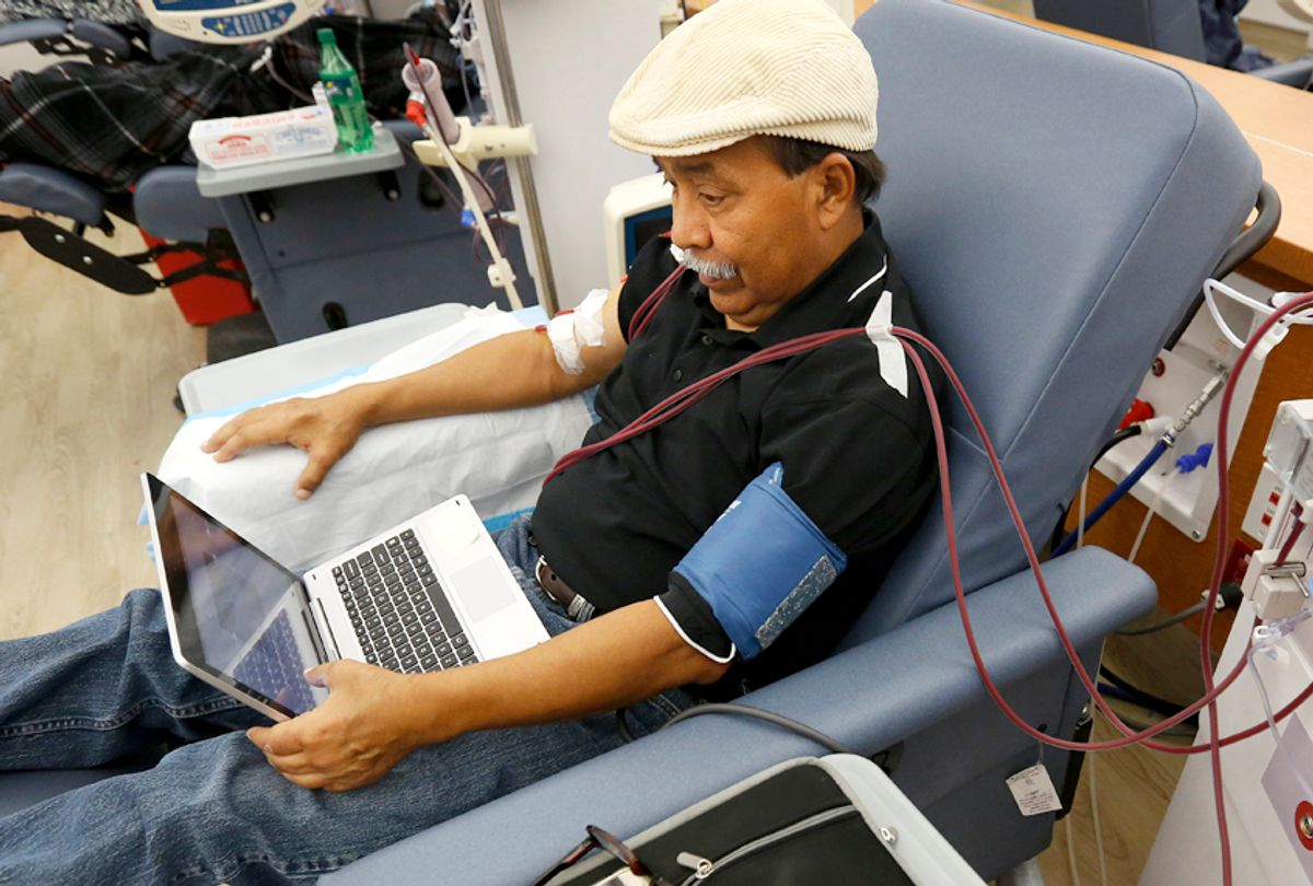 A patient undergoes dialysis at a clinic in Sacramento, Calif., Sept, 24, 2018. (AP/Rich Pedroncelli)