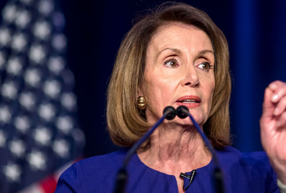 House Minority Leader Nancy Pelosi speaks during a DCCC election watch party at the Hyatt Regency on November 6, 2018 in Washington, DC (Getty/Zach Gibson)