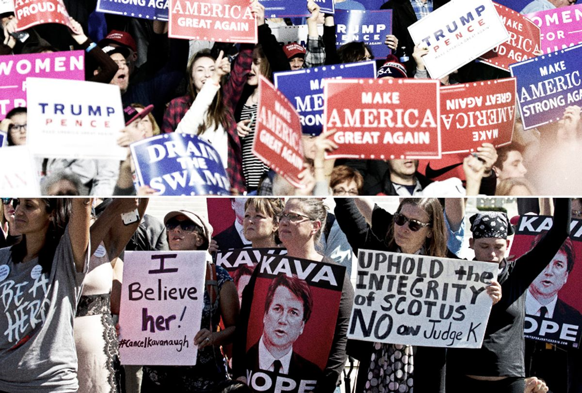 Donald Trump supporters at the Make America Great Again Rally; Protesters rally against Supreme Court nominee Brett Kavanaugh (Getty/Nicholas Kamm/AP/Jose Luis Magana)