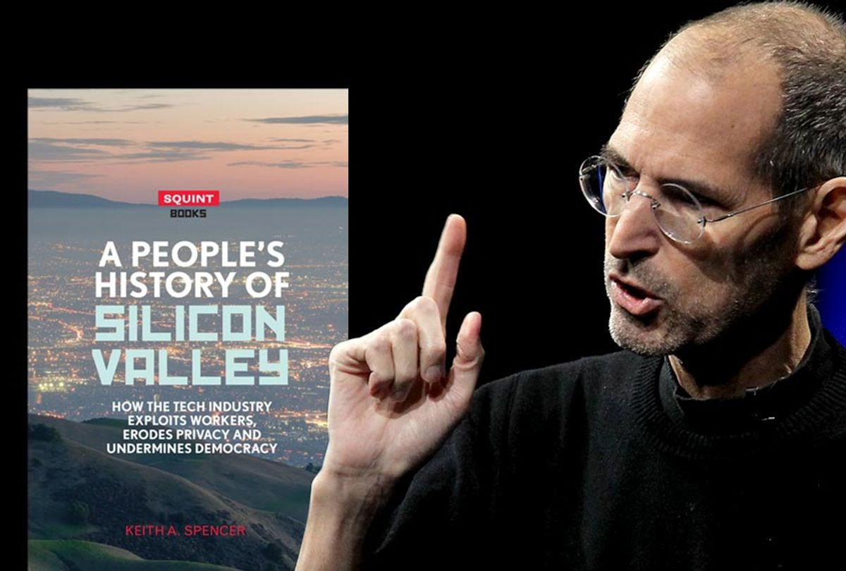 """""""A People's History of Silicon Valley"""" by Keith A. Spencer; Steve Jobs (Eyewear Publishing/Getty/ Justin Sullivan)"""