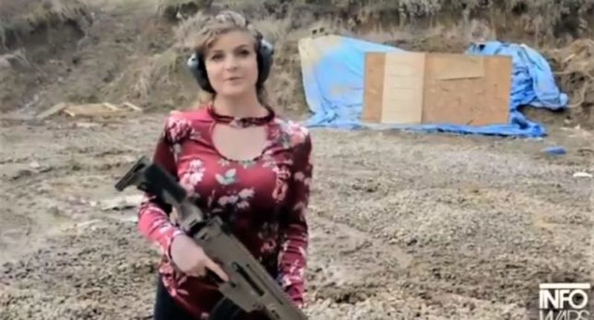 Kaitlin Bennett Notorious Gun Girl Hilariously Mocked After Shooting Up A Happy Holidays Signs Salon Com An arcade platformer that's all about the biggest guns you can use against the invading horde of zombies. kaitlin bennett notorious gun girl