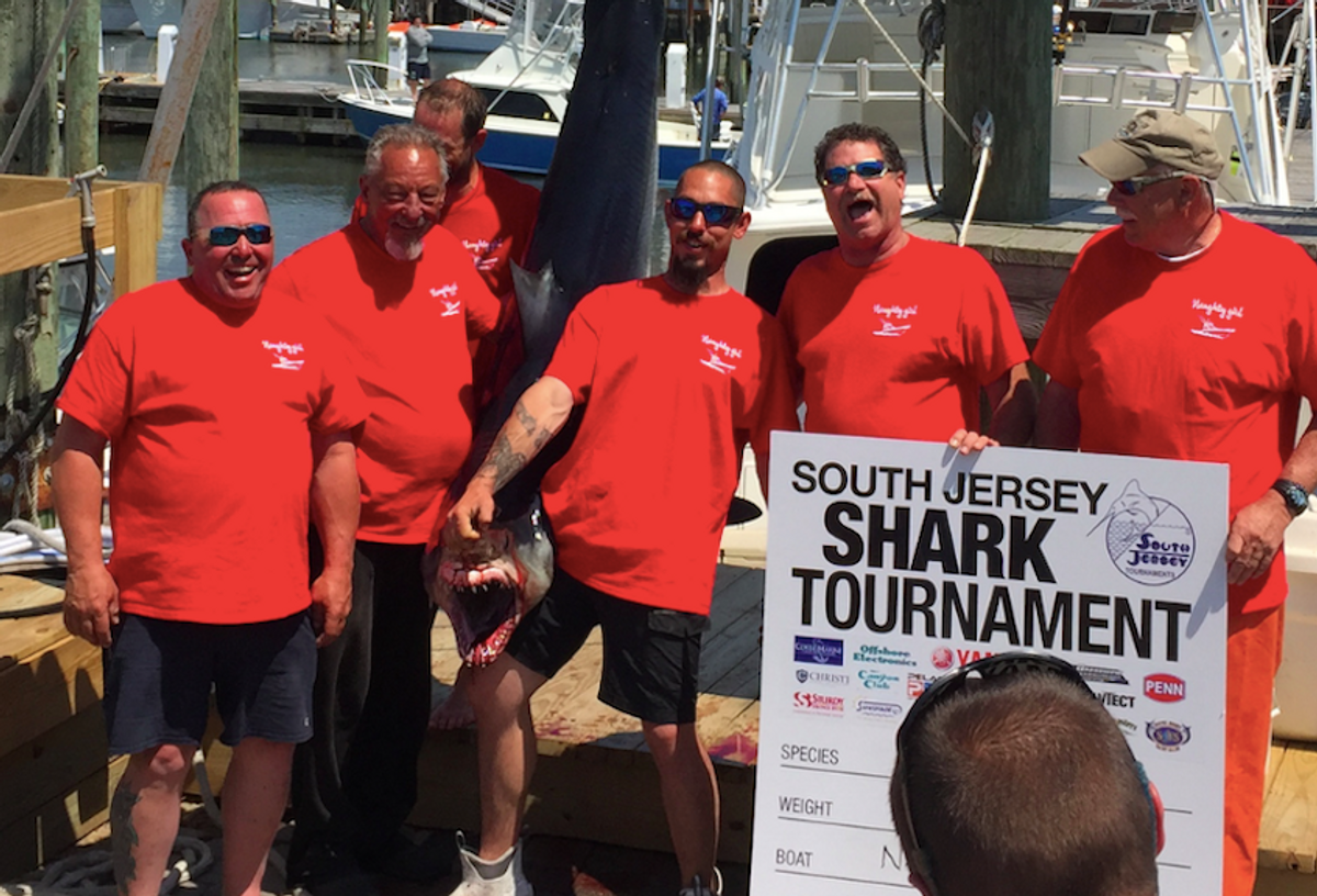 Mako sharks killed at the South Jersey Shark Tournament in June 2017. (Lewis Pugh/Independent Media Institute)