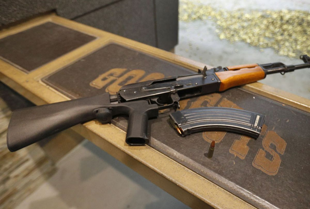 AK-47 with a bump stock installed (Getty/George Frey)