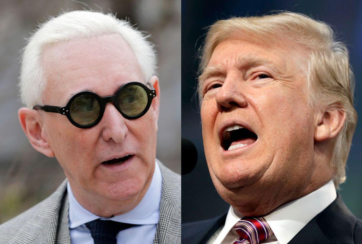 Roger Stone; Donald Trump (AP/Seth Wenig/Evan Vucci)