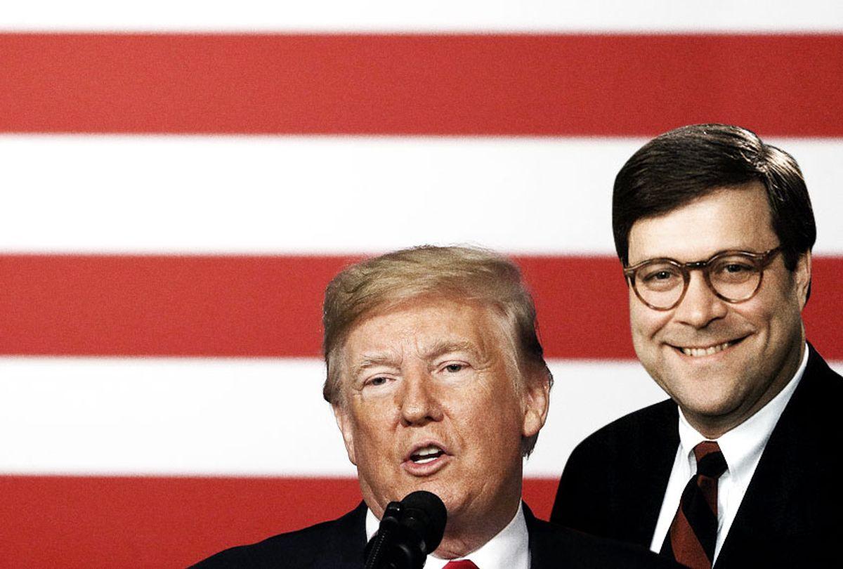 Donald Trump; William Barr (Wikimedia/Getty/Photo Montage by Salon)