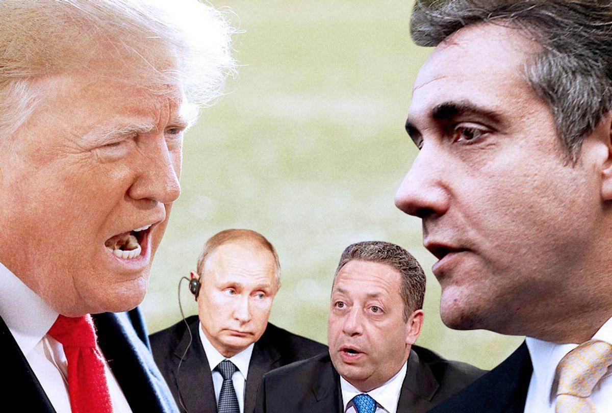 Donald Trump; Vladimir Putin; Felix Sater; Michael Cohen (Getty/AP/YouTube/CNN)