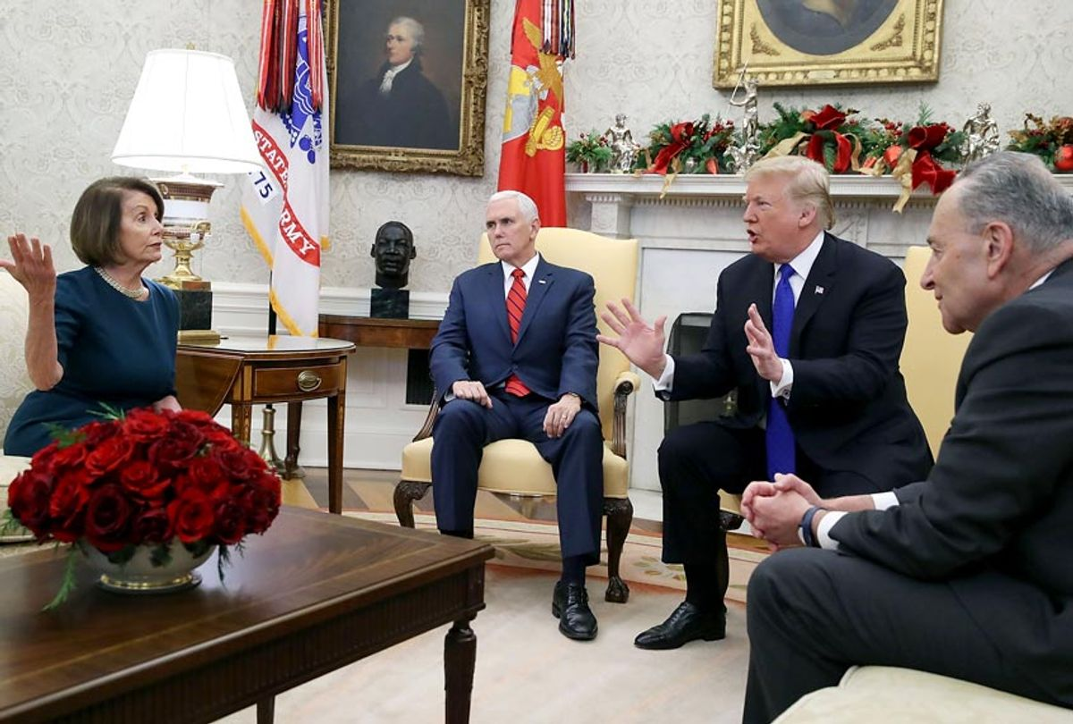 Donald Trump argues about border security with Senate Minority Leader Chuck Schumer and House Minority Leader Nancy Pelosi as Vice President Mike Pence sits nearby in the Oval Office on December 11, 2018 in Washington, DC. (Getty/Mark Wilson)