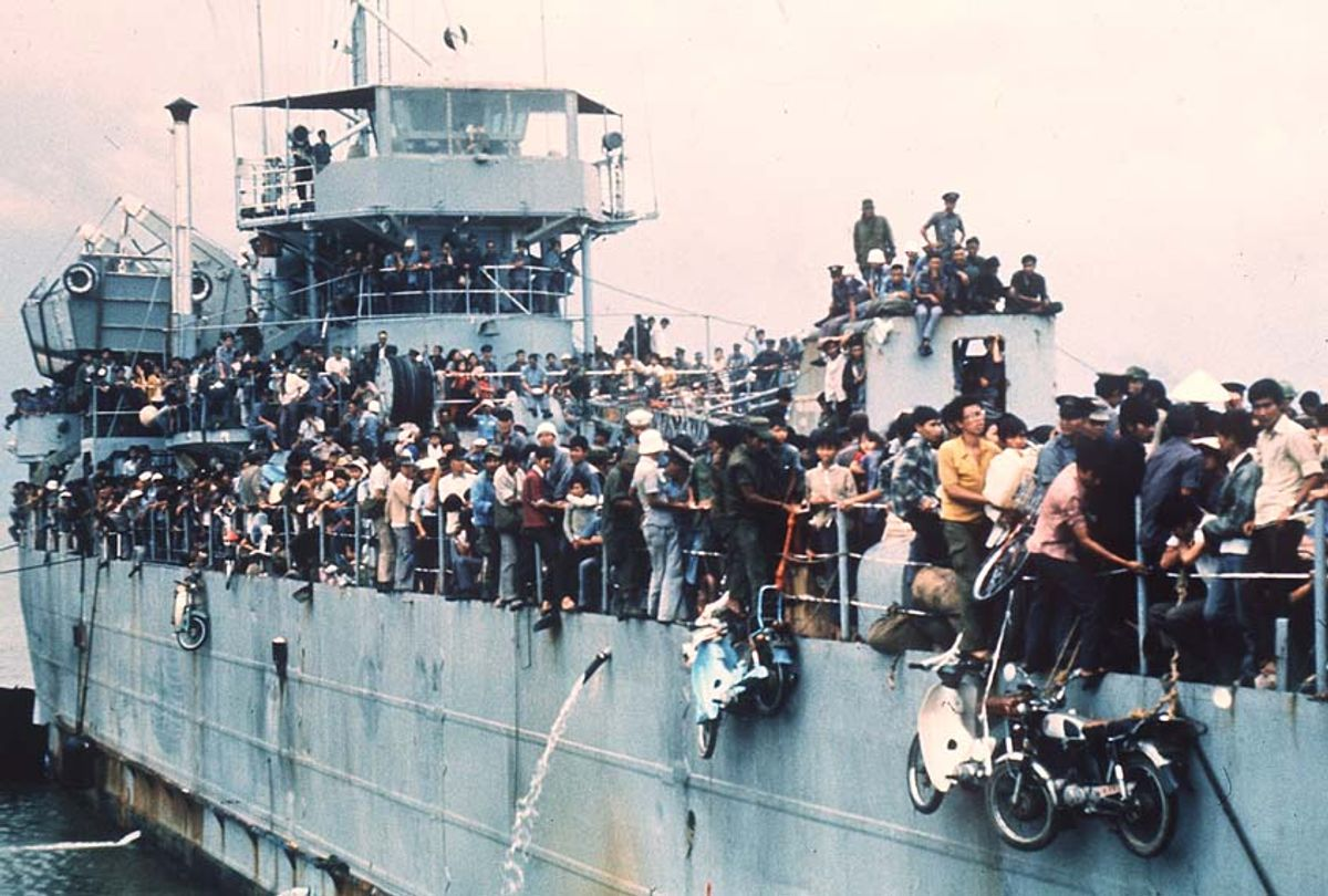 Jampacked with more than 7,000 refugees, the South Vietnamese Navy ship HQ-504 arrives at Vung Tau port, the South Vietnam' s most popular sea resort, and now the only port city in the Government hands. More than 20,000 Vietnamese refugees including those from Hue and Da Nang arrived at Vung Tau from Cam Ranh Bay, on board the Navy ships. (Getty/StaffAFP)