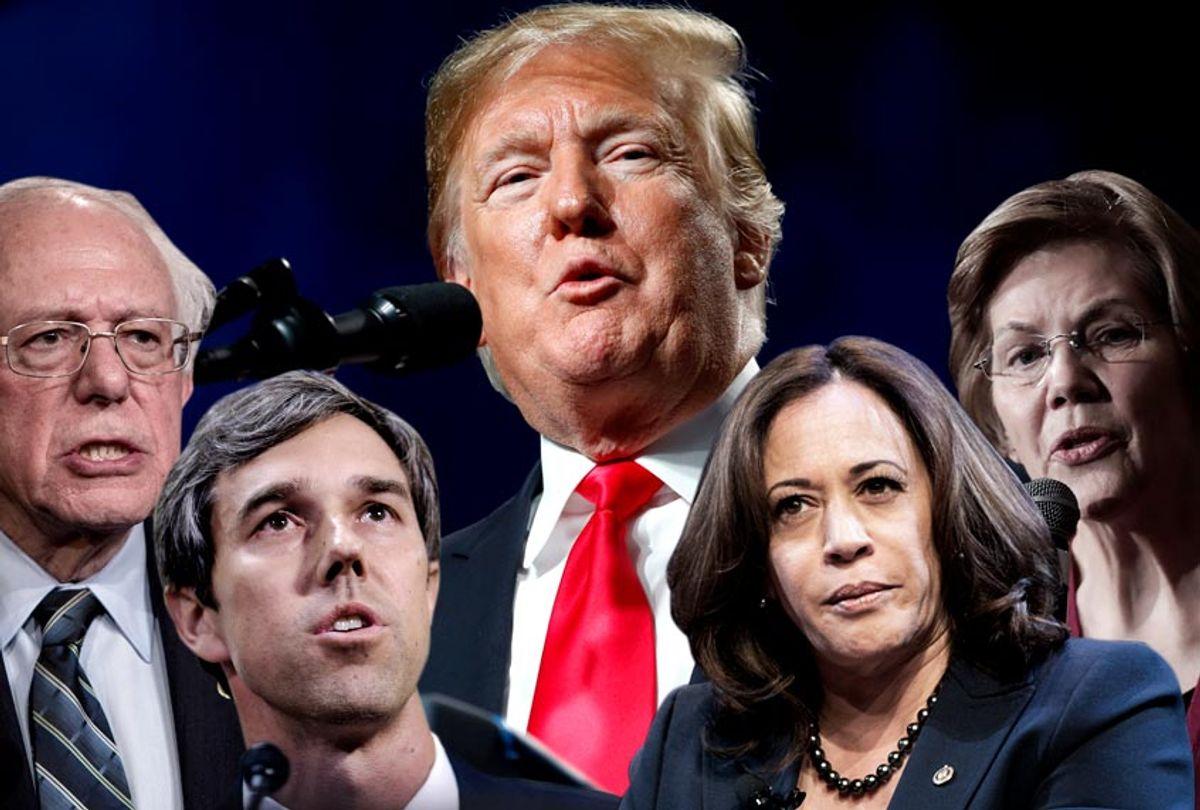 Bernie Sanders; Beto O'Rourke; Donald Trump; Kamala Harris; Elizabeth Warren (AP/Getty/Salon)