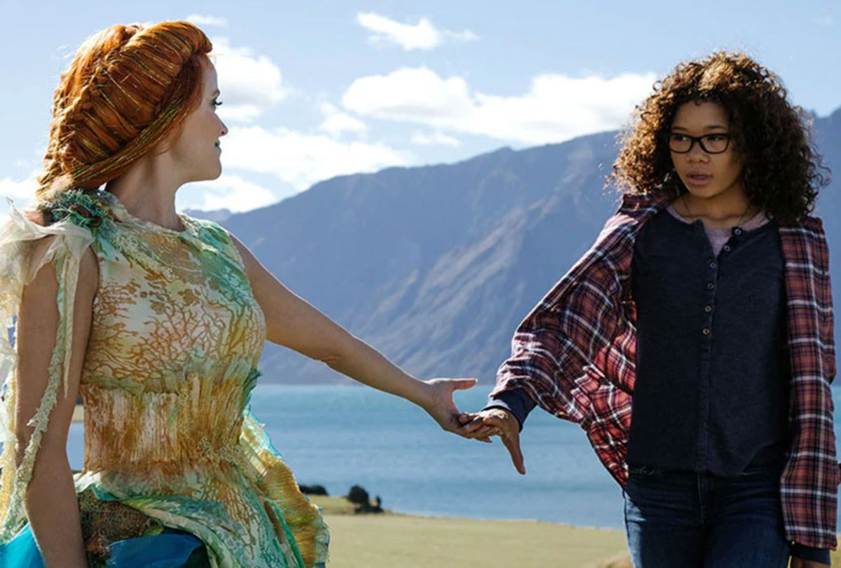 """Reese Witherspoon as Mrs. Whatsit and Storm Reid as Meg Murry in """"A Wrinkle in Time"""" (Walt Disney Studios Motion Pictures)"""