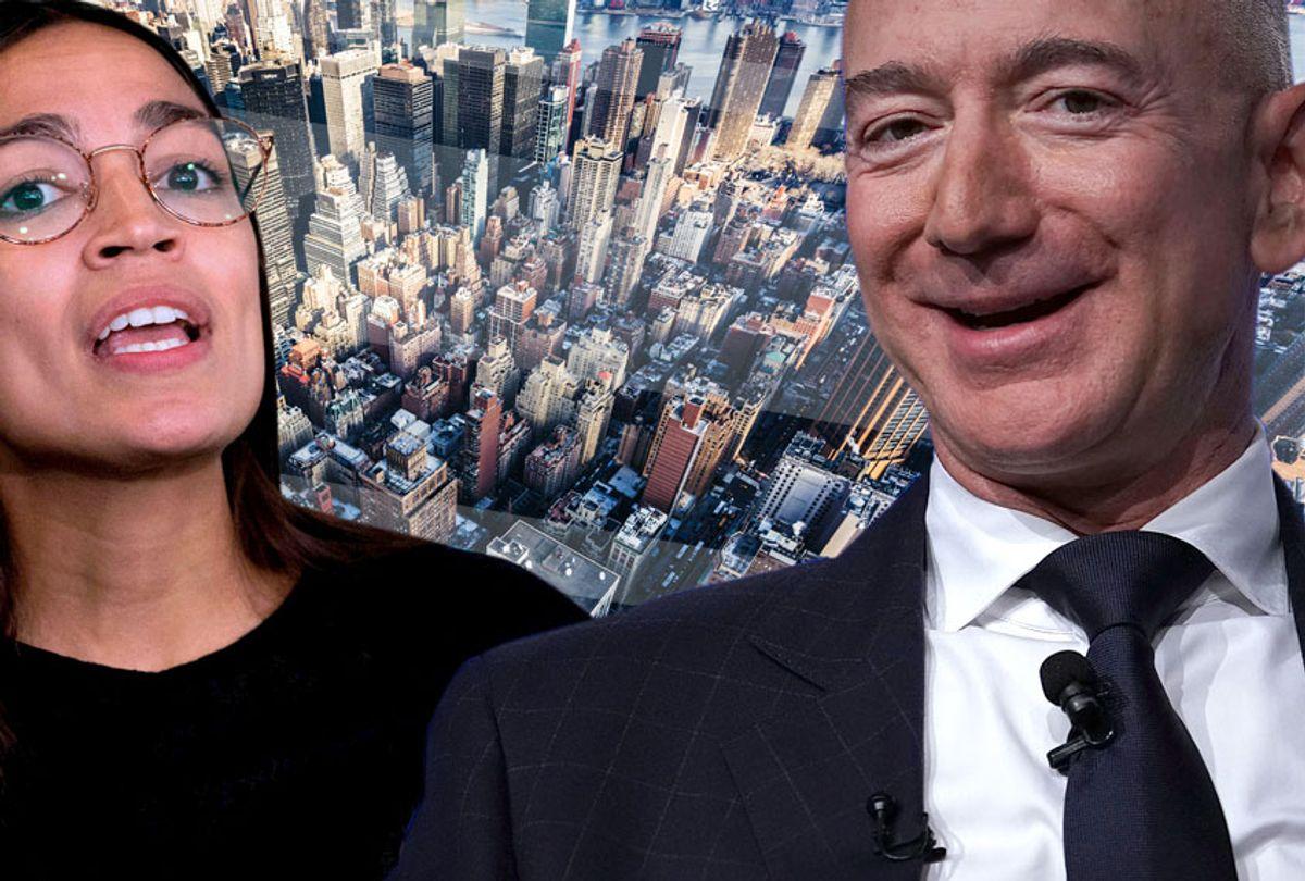 Alexandria Ocasio-Cortez; Jeff Bezos (Getty/Photo Montage by Salon)