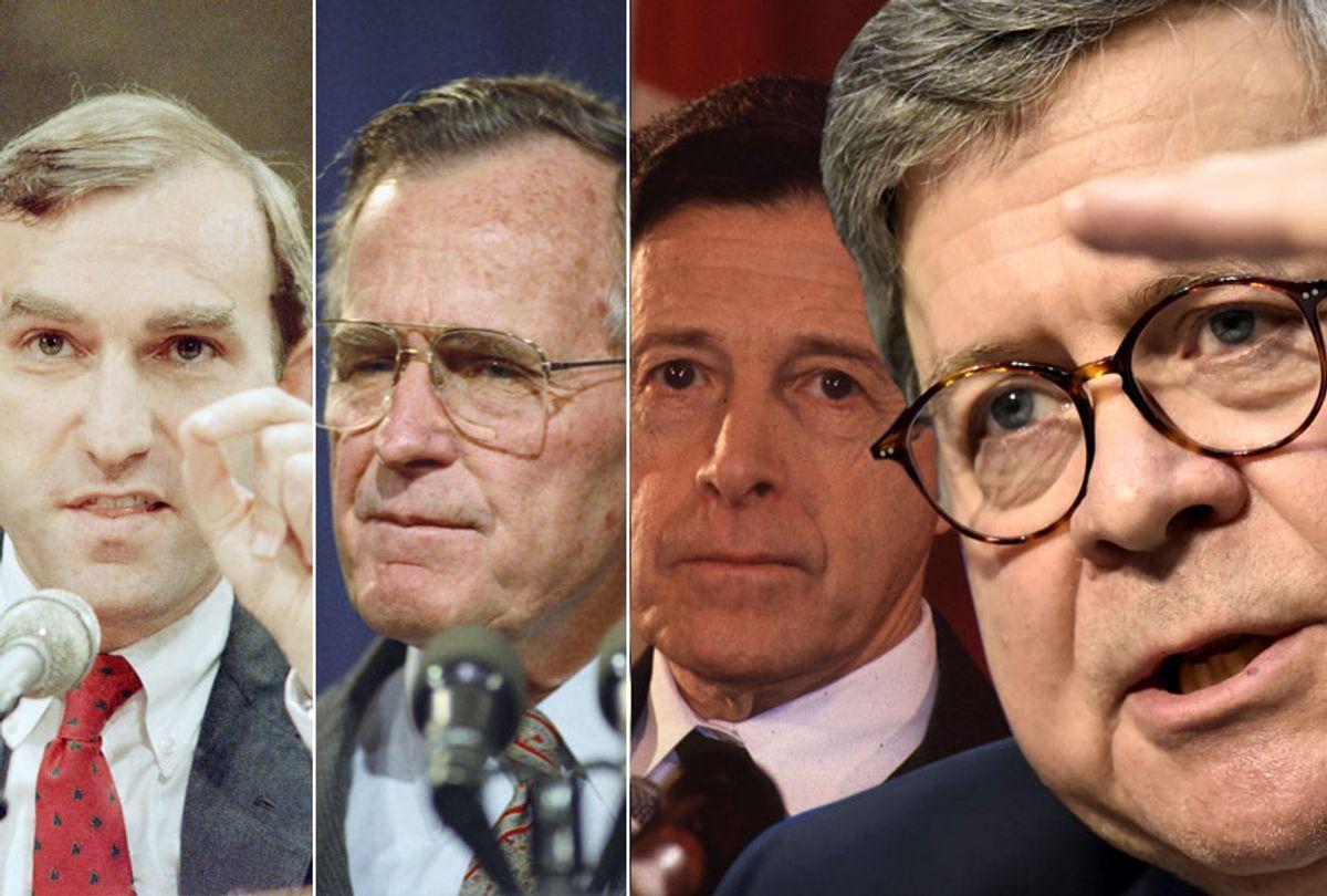 Elliott Abrams; George H. W. Bush; Caspar Weinberger; William Barr (AP/Getty/Salon)