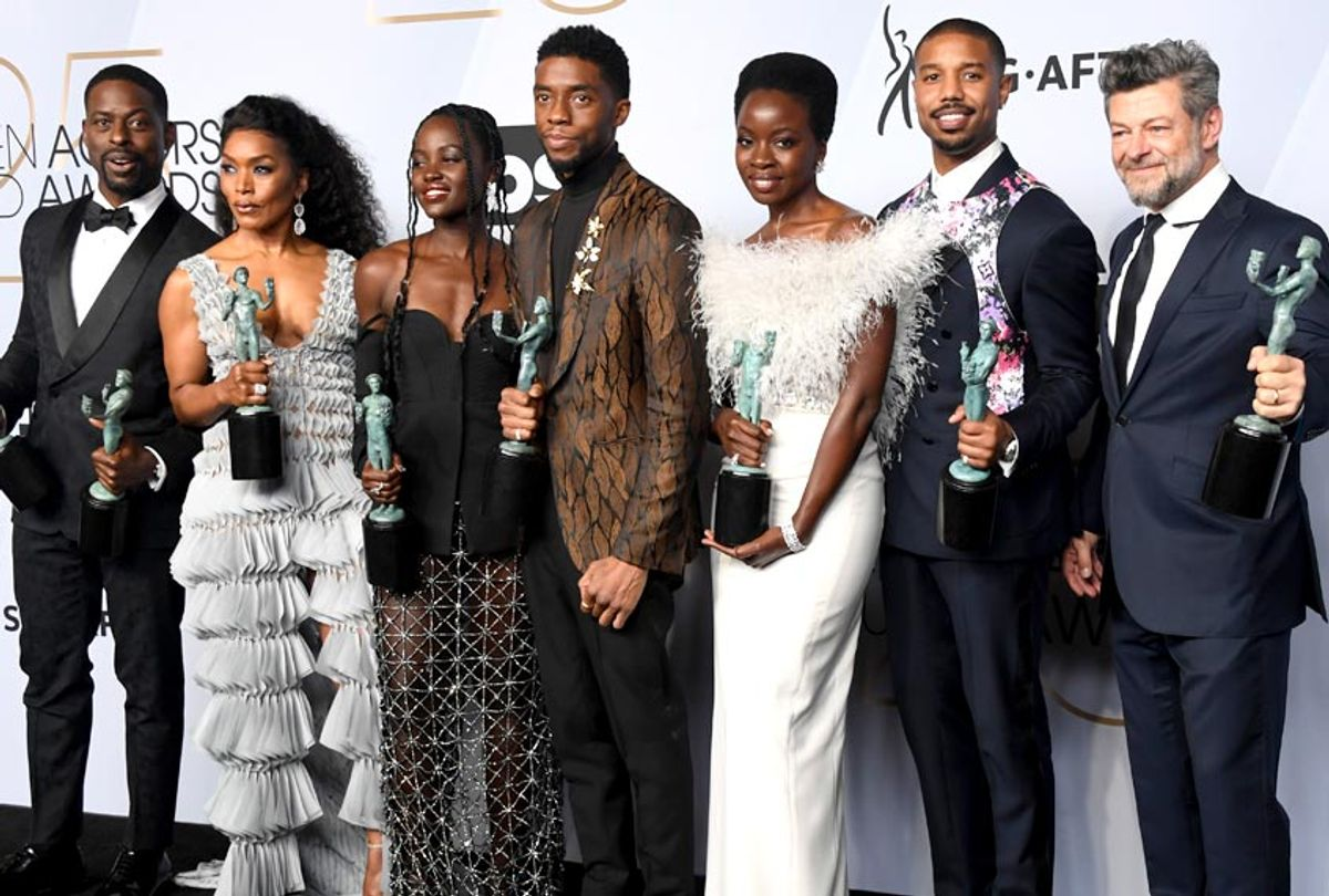Sterling K. Brown, Angela Bassett, Lupita Nyong'o, Chadwick Boseman, Danai Gurira, Michael B. Jordan, and Andy Serkis pose in the press room during the 25th Annual Screen ActorsGuild Awards. (Getty/Frazer Harrison)