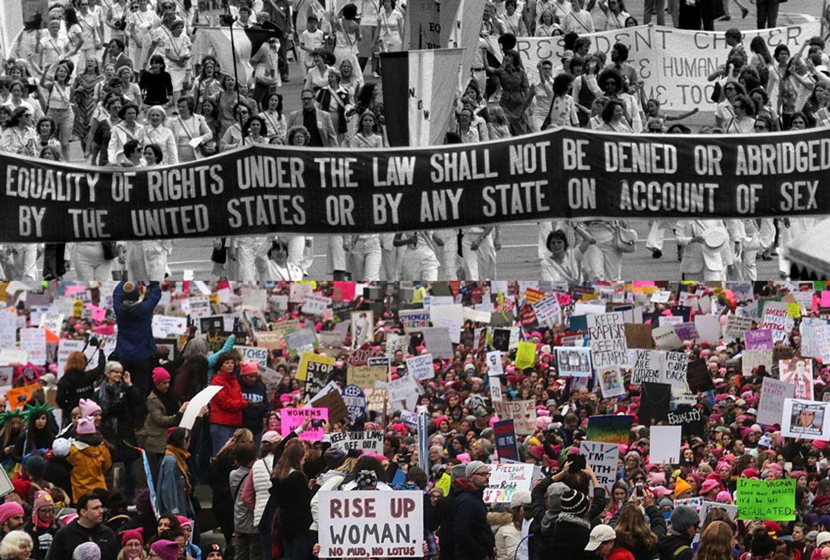 Equal Rights Amendment March, Washington D.C., August 26, 1977; Women's March, Washington D.C., January 21, 2017. (AP/Getty/Mario Tama)