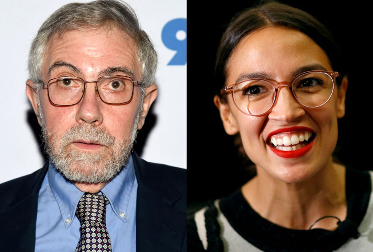 Paul Krugman; Alexandria Ocasio-Cortez (AP/Evan Agostini/Patrick Semansky)