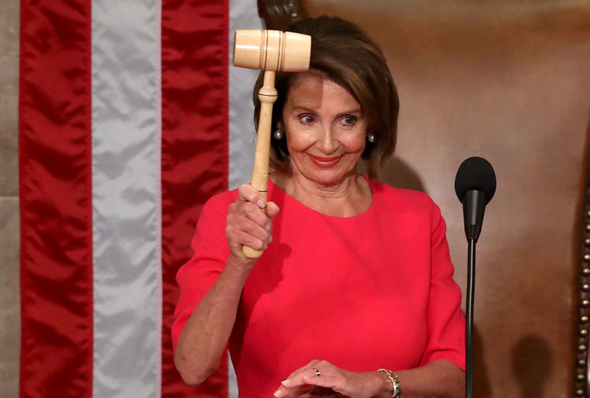 Speaker of the House Rep. Nancy Pelosi (D-CA) holds the gavel during the first session of the 116th Congress at the U.S. Capitol January 3, 2019 in Washington, DC. (Getty/Mark Wilson)