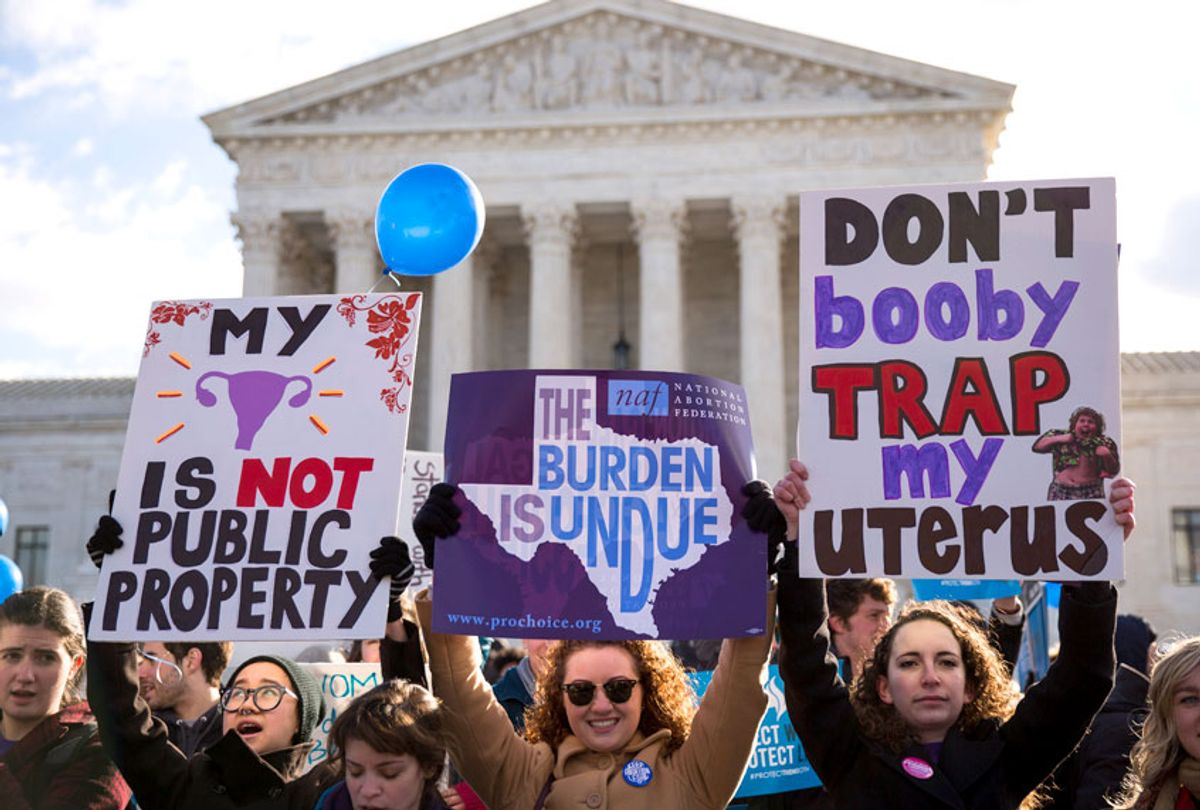 Pro-choice advocates rally outside of the Supreme Court. (Getty/Drew Angerer)