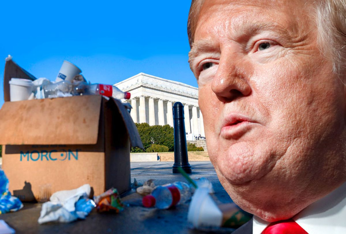 Trash in a box overflows near the Lincoln memorial as some government services have been stopped during a government shutdown in Washington, DC, December 27, 2018. (AP/Getty)