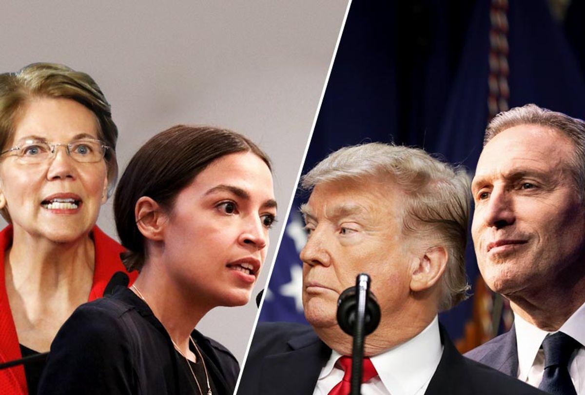 Elizabeth Warren; Alexandria Ocasio-Cortez; Donald Trump; Howard Schultz (Getty/Salon)