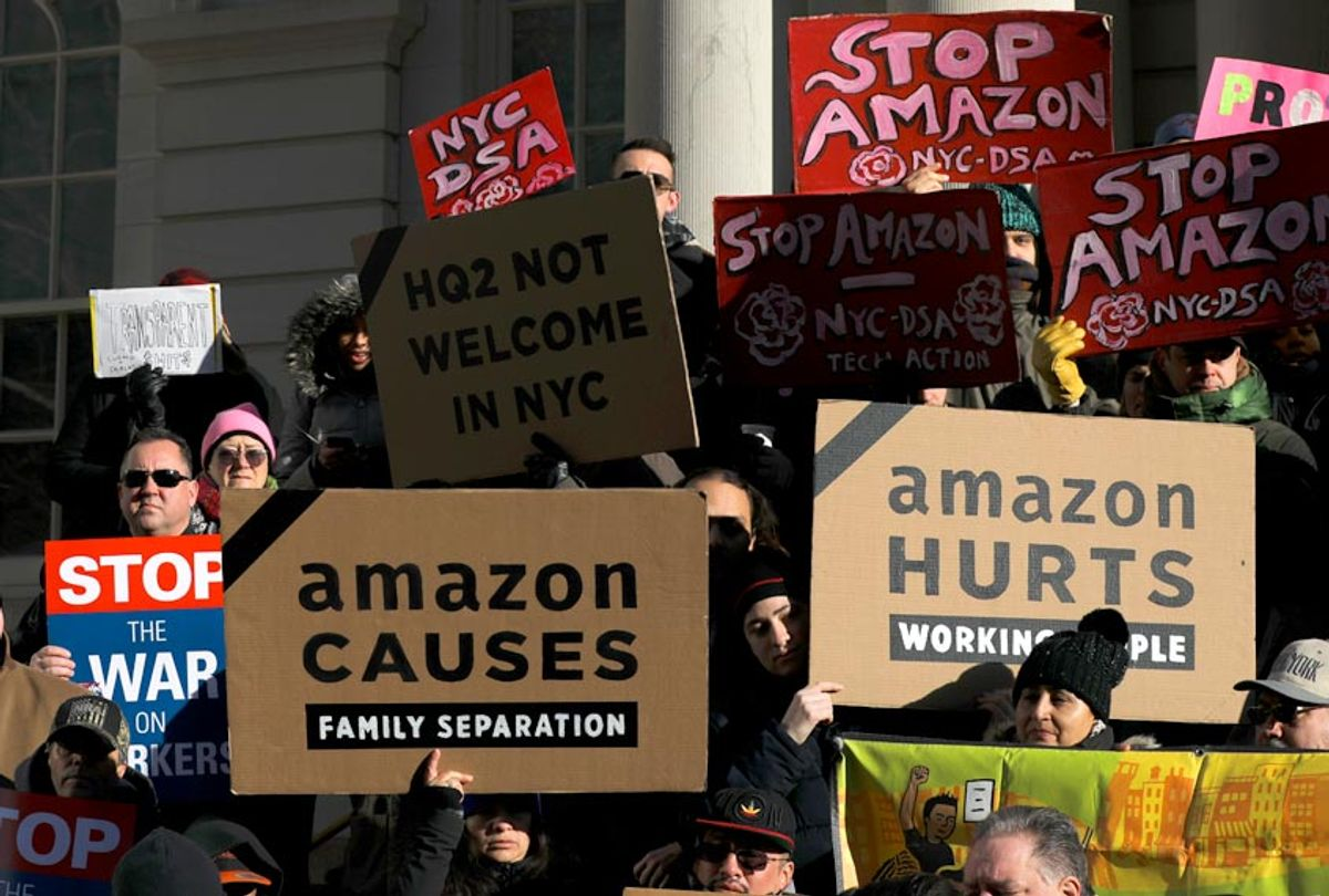 Protestors rally against Amazon and the company's plans to move their second headquarters to the Long Island City neighborhood of Queens, at New York City Hall, January 30, 2019 in New York City. (Getty/Drew Angerer)