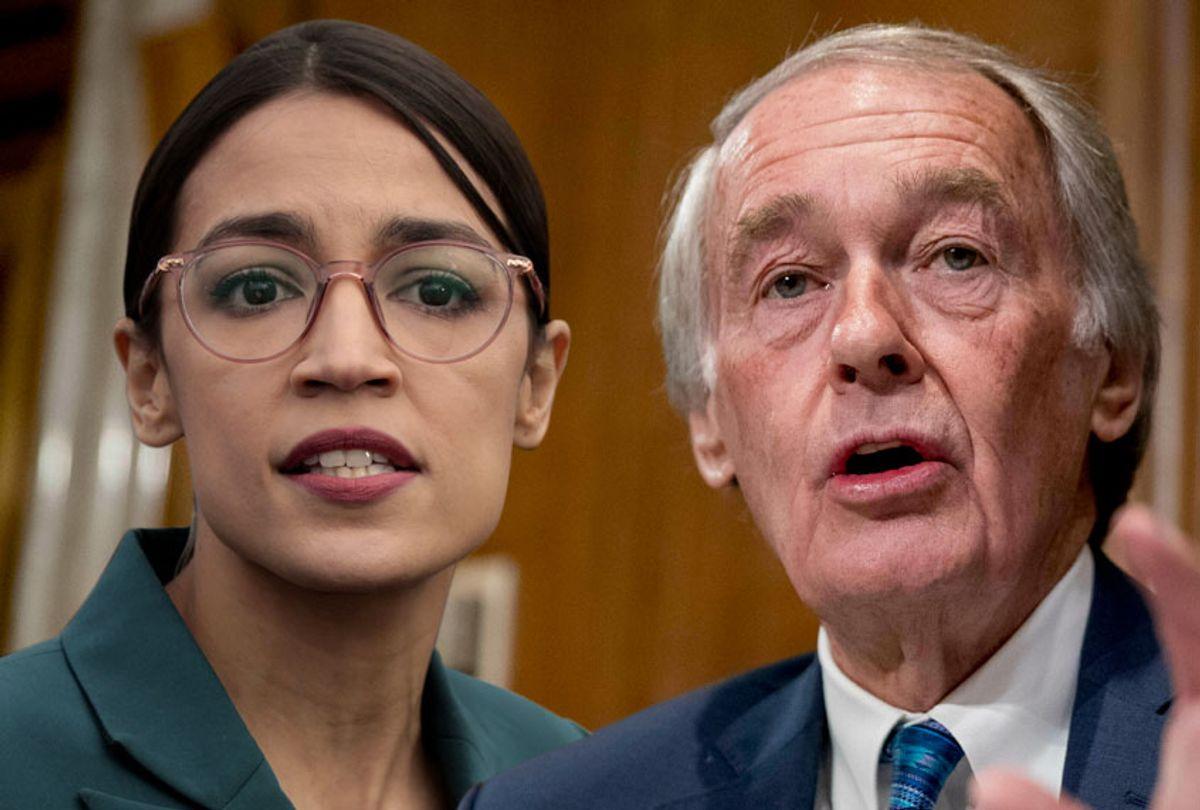 Alexandria Ocasio-Cortez; Ed Markey (Getty/AP/Salon)