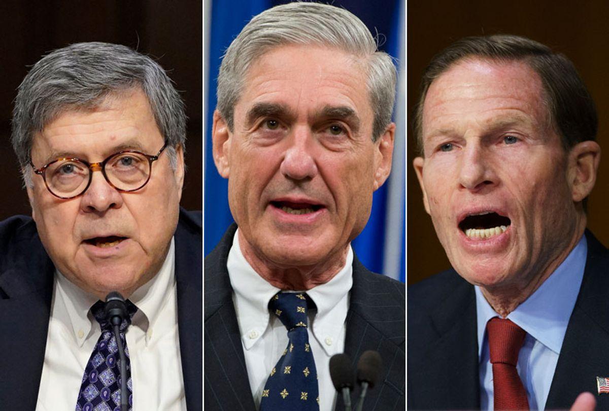 William Barr; Robert Mueller; Richard Blumenthal (AP/Getty)