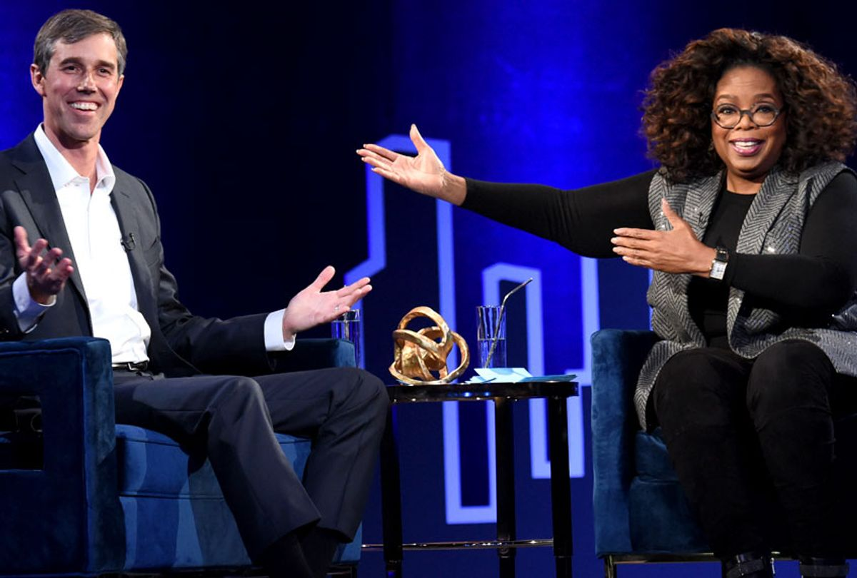 Beto O'Rourke and Oprah Winfrey speak onstage at Oprah's SuperSoul Conversations at PlayStation Theater on February 05, 2019 in New York City. (Getty/Jamie McCarthy)