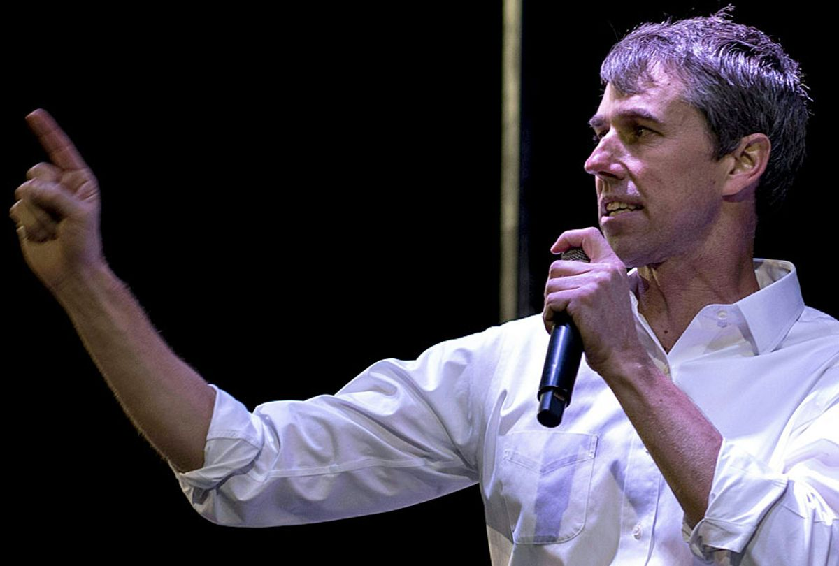 Former Texas Congressman Beto O'Rourke speaks to a crowd of supporters at Chalio Acosta Sports Center at the end of the anti-Trump 'March for Truth' in El Paso, Texas, on February 11, 2019. (Getty/Paul Ratje)