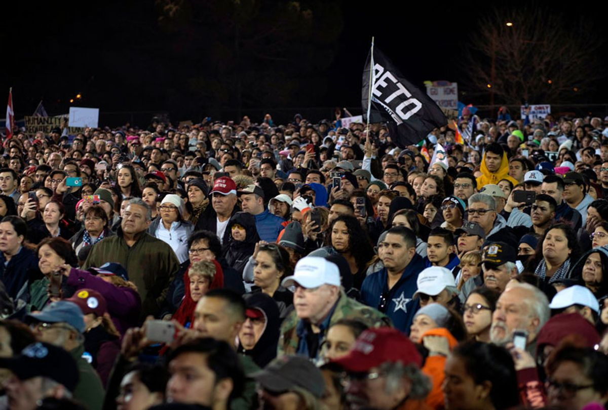 Supporters listen to former Texas Congressman Beto O'Rourke at Chalio Acosta Sports Center at the end of the anti-Trump 'March for Truth' in El Paso, Texas, on February 11, 2019. (Getty/Paul Ratje)