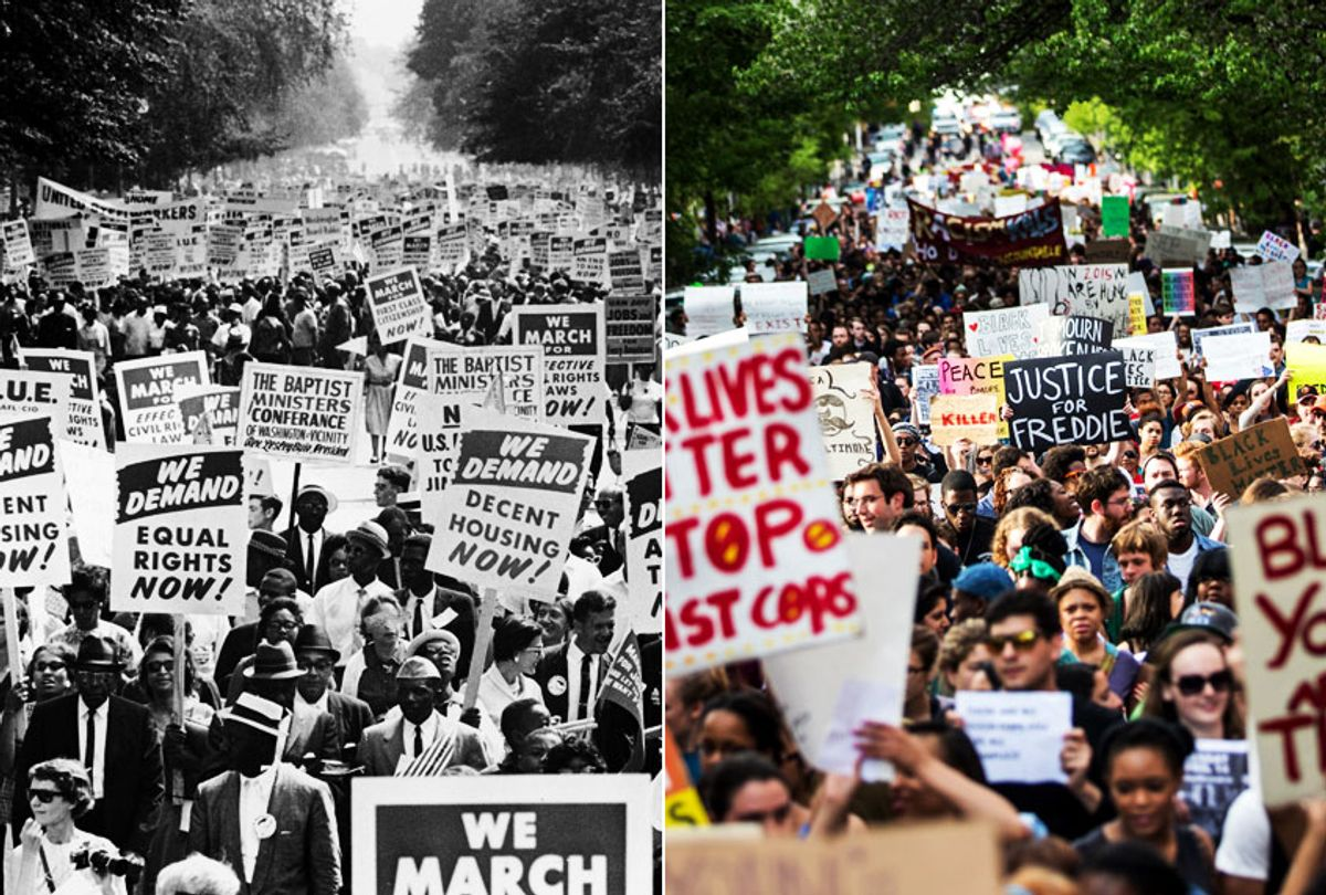 March on Washington for Jobs and Freedom, Washington DC, August 28, 1963; Justice for Freddie Gray protest on April 29, 2015 in Baltimore, Maryland (Hulton Archive/Andrew Burton)