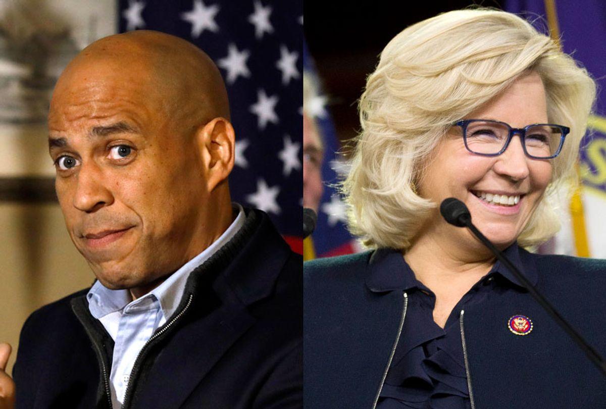 Cory Booker; Liz Cheney (AP/Charlie Neibergall/Alex Brandon)