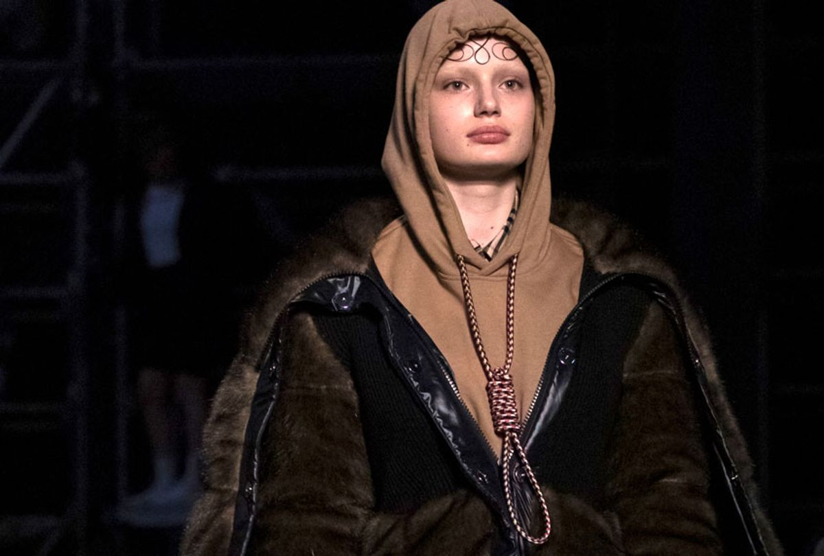 A model wearing a creation by Burberry at the Autumn/Winter 2019 fashion week runway show in London. (AP/Vianney Le Caer)