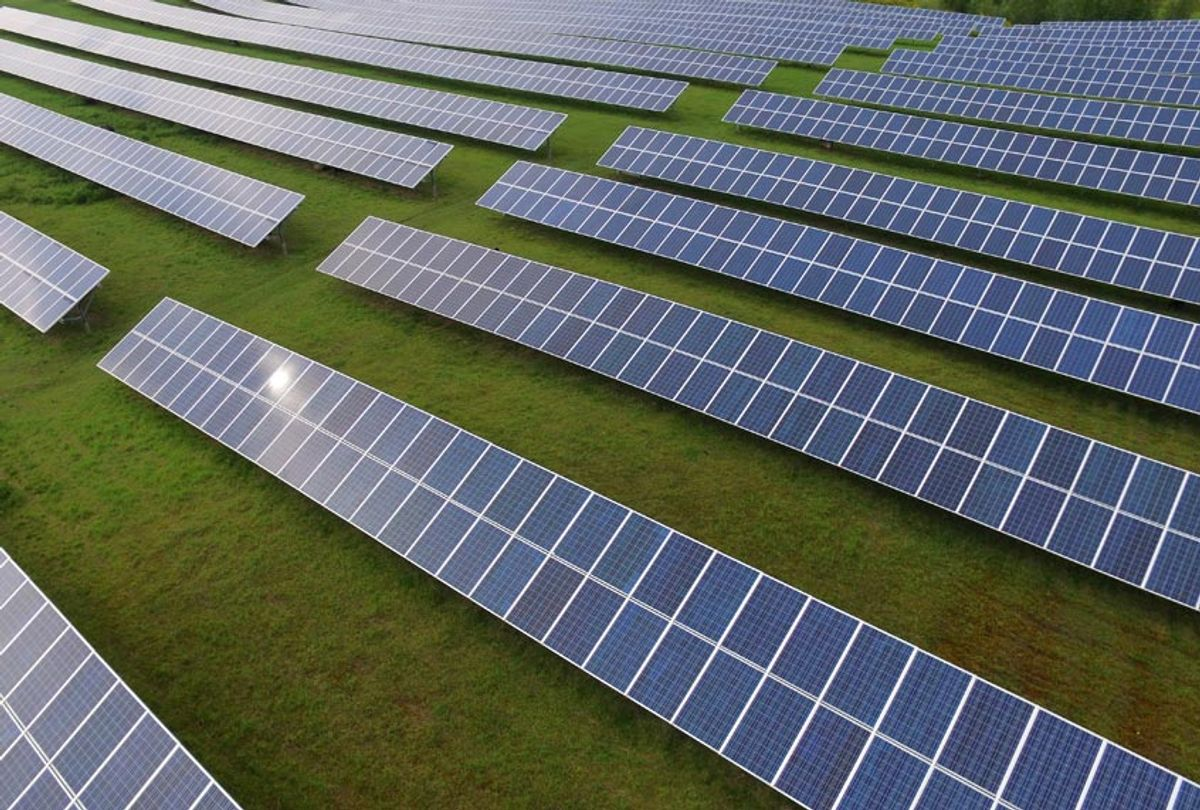 Solar panels Photovoltaic systems - aerial view