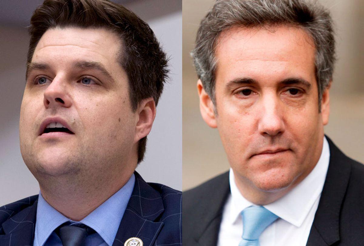 Matt Gaetz; Michael Cohen (AP/Jose Luis Magana/Eduardo Munoz Alvarez)