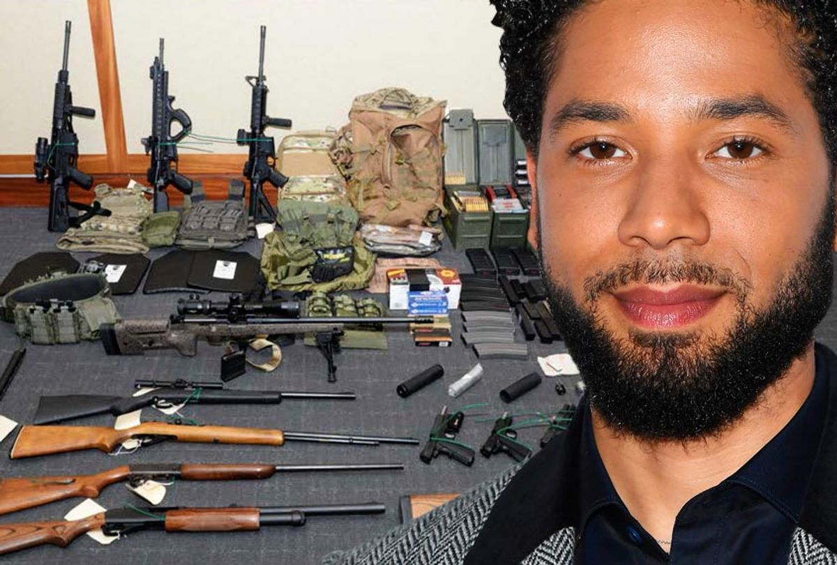 Jussie Smollett; Firearms and ammunition that were in the motion for detention pending trial in the case against Christopher Paul Hasson. (Getty/Angela Weiss/U.S. District Court via AP)