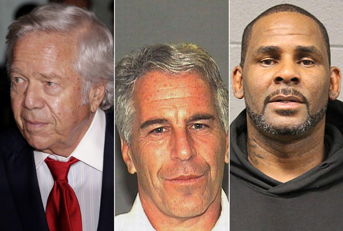 Robert Kraft; Jeffrey Epstein; R. Kelly (AP/Seth Wenig/Palm Beach Sheriff's Office/Chicago Police Dept.)