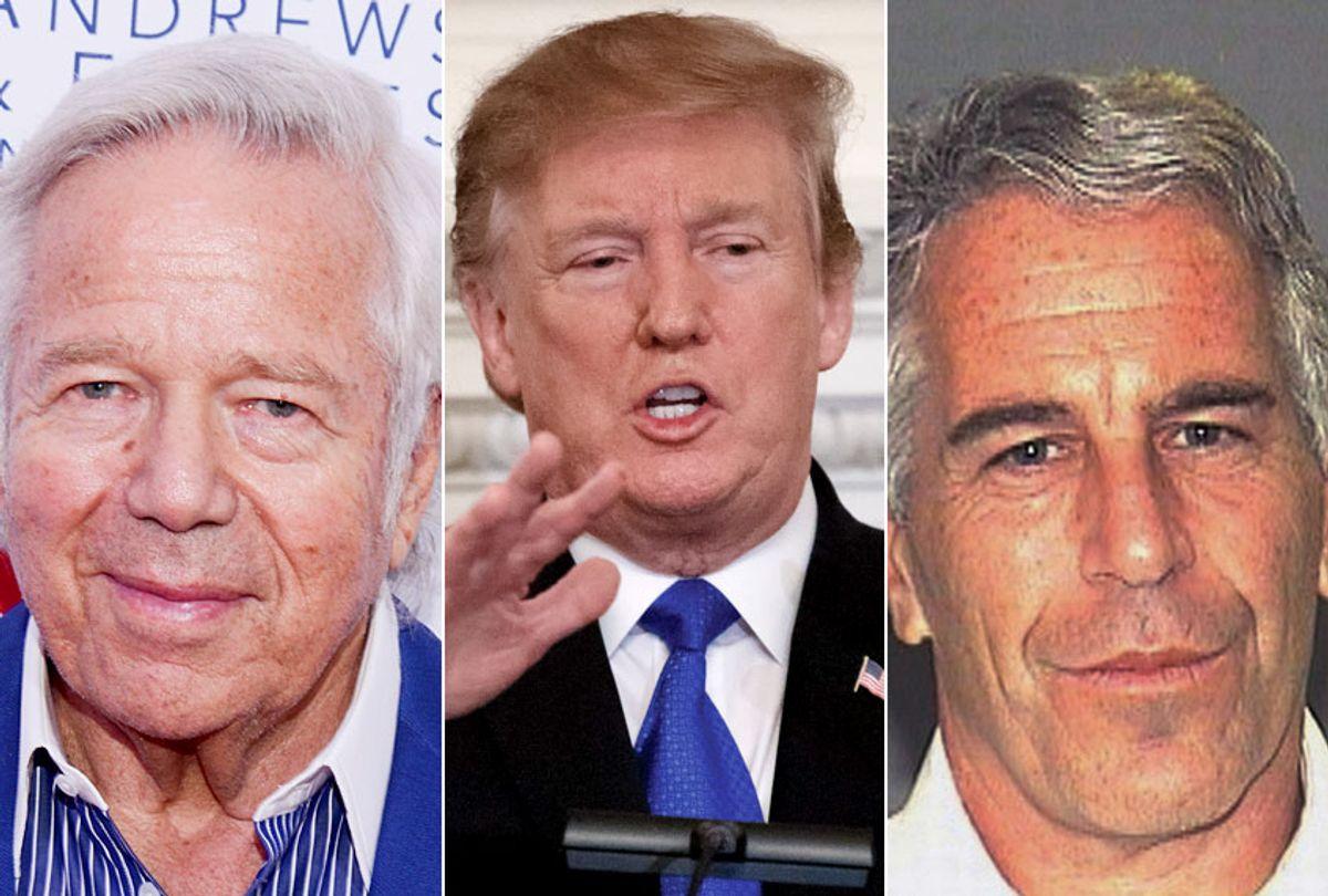 Robert Kraft; Donald Trump; Jeffrey Epstein (AP/Raymond Hagans/Carolyn Kaster/Palm Beach Sheriff's Office)