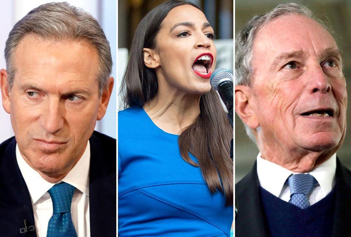 Howard Schultz; Alexandria Ocasio-Cortez; Michael Bloomberg (AP/Richard Drew/Elise Amendola/Getty/Scott Eisen)