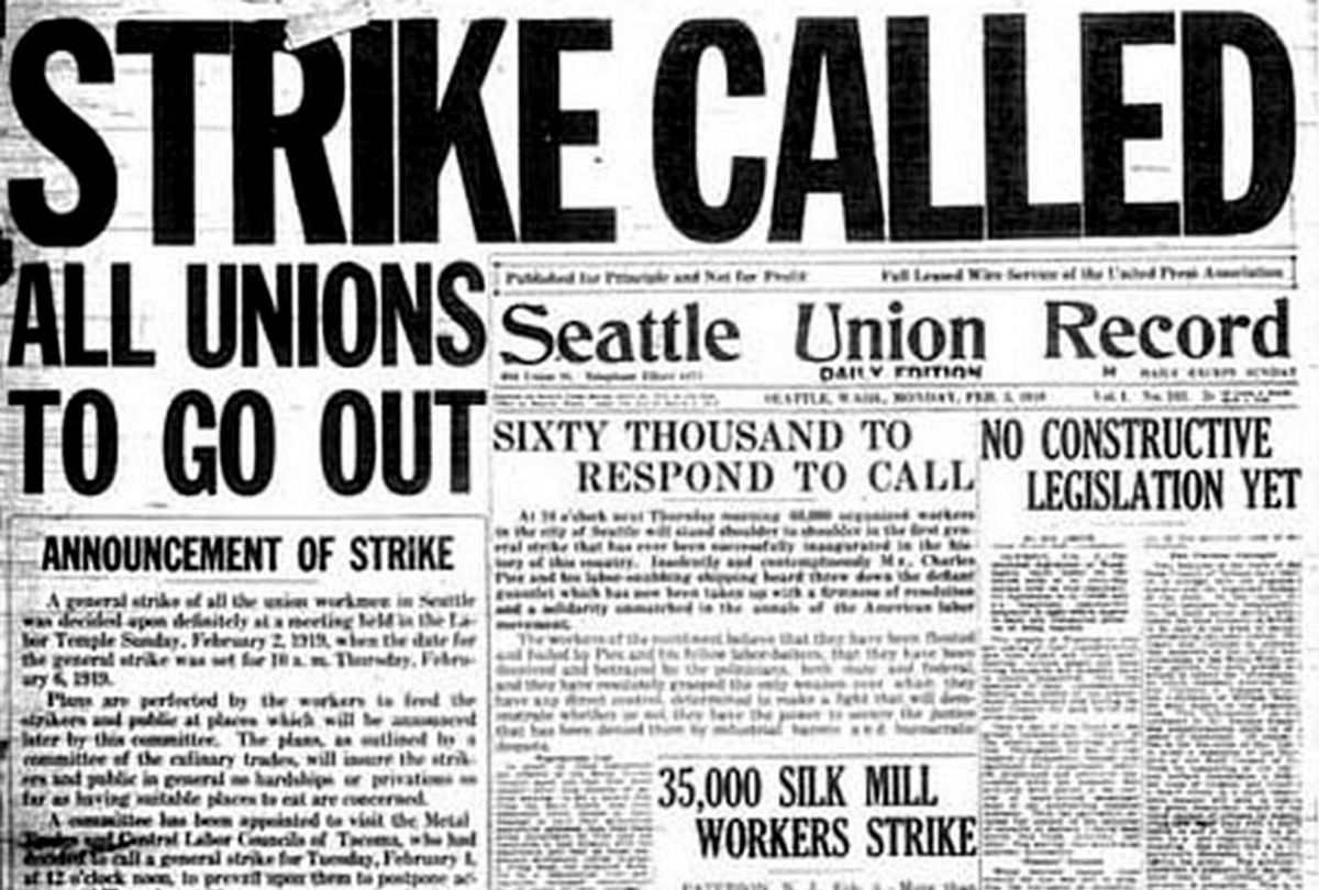 The front page of the Seattle Union Record at the beginning of the Seattle General Strike. (Wikimedia)