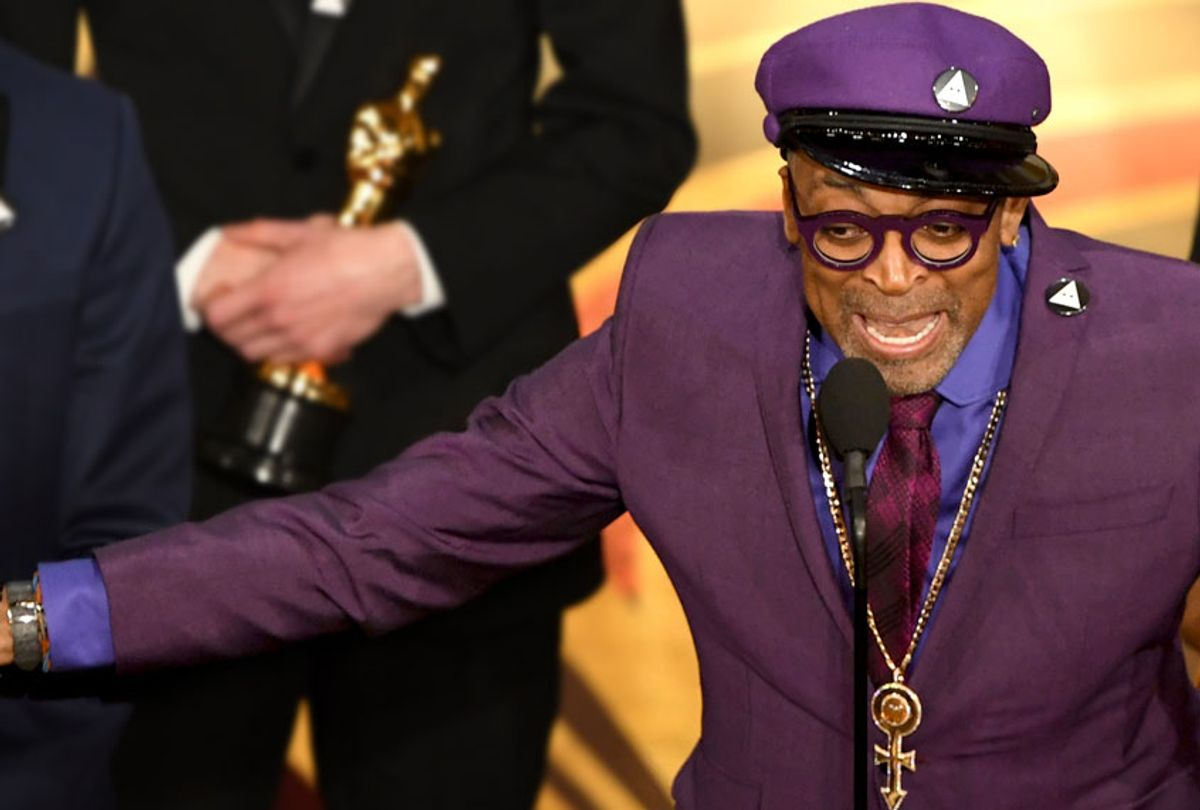 Spike Lee accepts the Best Adapted Screenplay award for 'BlacKkKlansman' from Samuel L. Jackson onstage during the 91st Annual Academy Awards at Dolby Theatre on February 24, 2019 in Hollywood, California. (Getty/Valerie Macon)